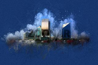 Digital Painting Dubai Creek Buildings, United Arab Emirates