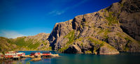 Sea landscape of Nusfjord village and harbour at flakstadoya Island , Lofoten , Norway