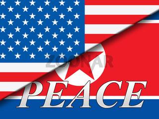 United States North Korea Peace Flags 3d Illustration