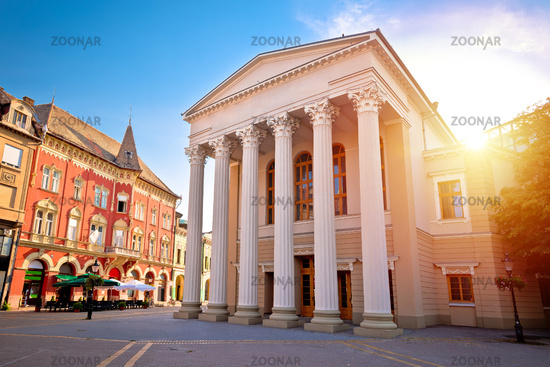 Subotica central square and peoples theater building sunset view