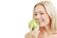 woman eat green apple woman eat green apple