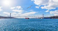 Beautiful Bosphorus panorama, the 15 July Martyrs Bridge, Istanbul