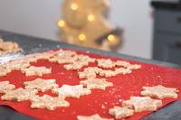 Star shaped homemade baked cinnamon christmas cookies