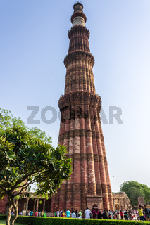 Panorama of Qutub Minar with side buildings of the complex and central square. UNESCO World Heritage in Mehrauli, Delhi, India, Asia.