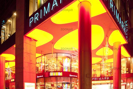 Shrill Illuminated Shops on Neumarkt, Cologne, Rhineland, North Rhine-Westphalia, Germany, Europe