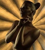 Naked model with golden trendy makeup and bodyart