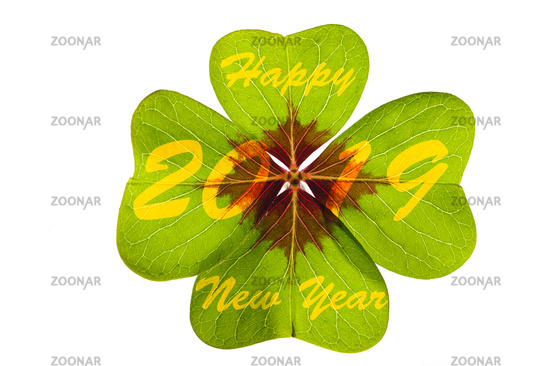 clover leaf with good wishes for new year 2019