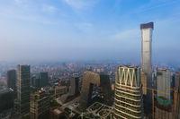 Modern financial district skyline in Beijing China
