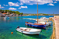 Korcula. Lumbarda coastal village on island of Korcula turquoise waterfront view