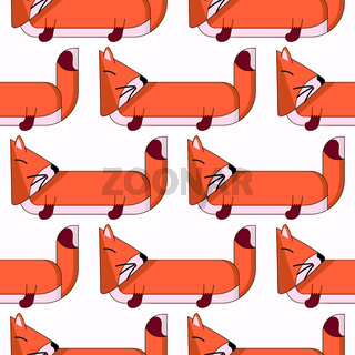Vector seamless pattern with cute cartoon foxes2
