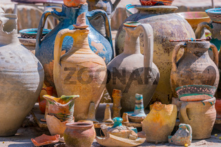 Exposition of traditional old Uzbek pottery.