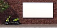 3d-illustration horozontal blank advertising billboard on brick wall