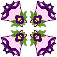 Kaleidoscope of illustration - purple pansy flower