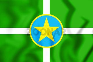 3D Flag of Jackson (Mississippi), USA. 3D Illustration.