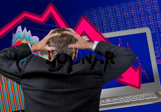 Senior retired man worried about stock market crash