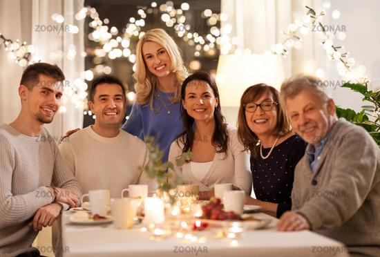 happy family having tea party at home
