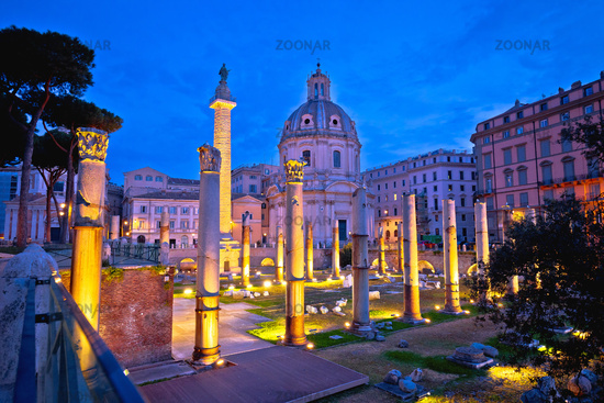 Rome. Ancient Trajans Forum square of Rome dawn view