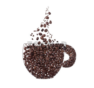 Coffee cup and steam made from coffee beans