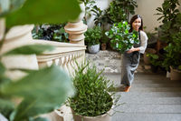 Floristin liefert Grünpflanzen als Dekoration