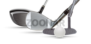 Golf Driver Wood, Iron Wedge, Putter and Ball on White Background