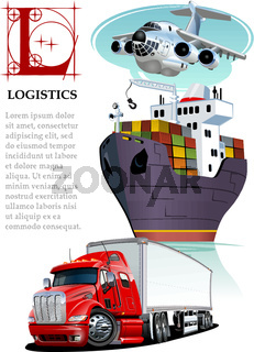 Vector set of cartoon transport. Logistics mockup