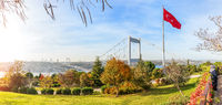 Autumn panorama of the Otagtepe park and the Fatih Sultan Mehmet bridge of Istanbul, Turkey