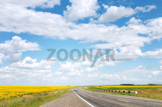 Abstract photo of empty country road in fields at sunny day
