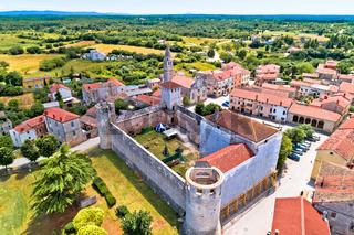Village of Svetvincenat in inland Istria aerial view