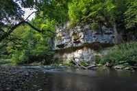 Wall of limestone in the Wutach gorge in the Black Forest