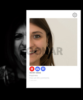 Young Caucasian girl suffering and depressed appears smiling and happy on social networks. Concept of falsehood and hypocrisy of social networks