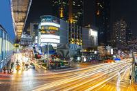 Long exposure light night scene, Bangkok Thailand.