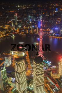 Shanghai, China - May 23, 2018: A night view from Shanghai tower to the modern skyline in Shanghai, China