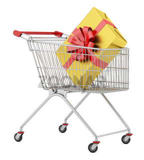 shopping cart with gift box isolated on white background
