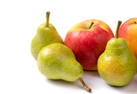 Group of two apple and tree pears