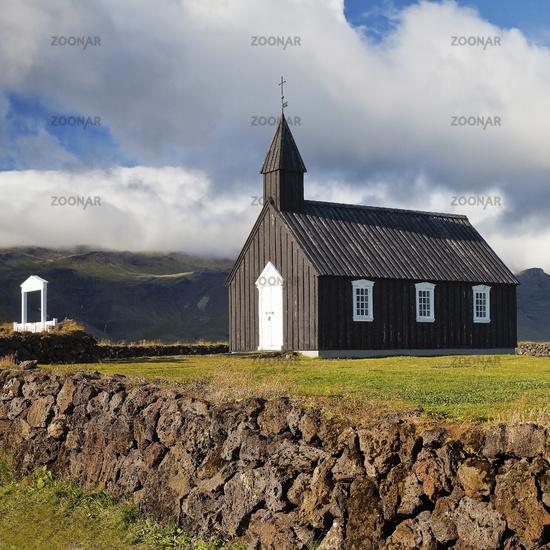 Black wooden church off Bergen, Budir Kirka, Budir, peninsula Snæfellsnes, Iceland, Europe