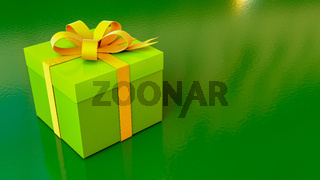 A green giftbox on green background