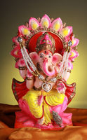 Beautifully Decorated Hindu God Lord Ganesha Statue / Idol