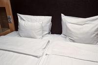 Hotel bed closeup