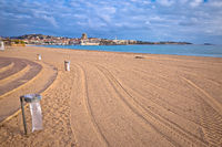 Frejus sand beach and waterfront view