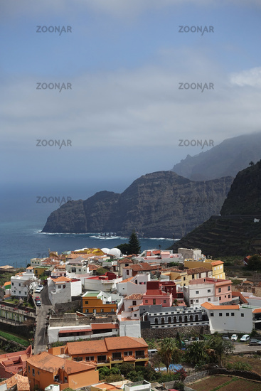View to the holiday resort Agulo, La Gomera, Canary Islands, Spain