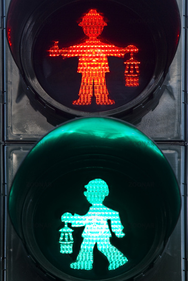 little traffic-light man in shape of a miner with miner´s lamp, Duisburg, Ruhr Area, Germany, Europe