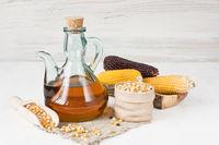 Corn oil in glass pitcher