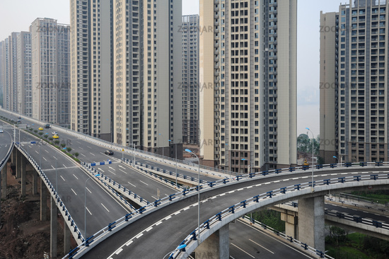 Chongqing, China, New housing development and elevated highways in the Chinese metropolis