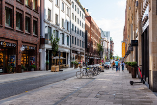 Scenic view of street in Hamburg with luxury fashion stores