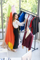 Fashion designer owner working