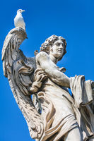 One of the angel statues on the Angel bridge over the Tiber in Rome. Latium Italy