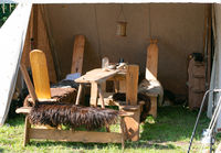 Tent camp and medieval objects during a medieval spectacle