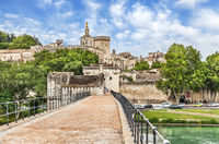 Avignon Bridge with Popes Palace, Pont Saint-Benezet, Provence, France