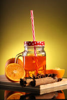 Healthy Infused Orange Detox Drink in a Mason Jar