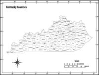 Kentucky state outline administrative and political vector map in black and white